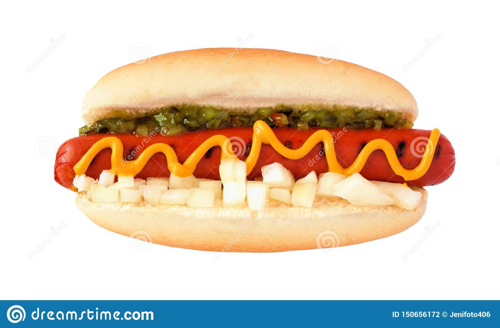 Hot dog with mustard, relish and onions, top view isolated on white