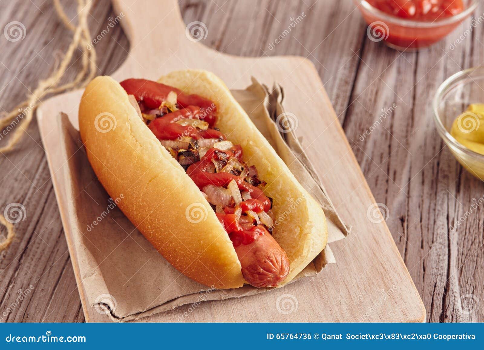 Honey Mustard And Ketchup On Hot Dog