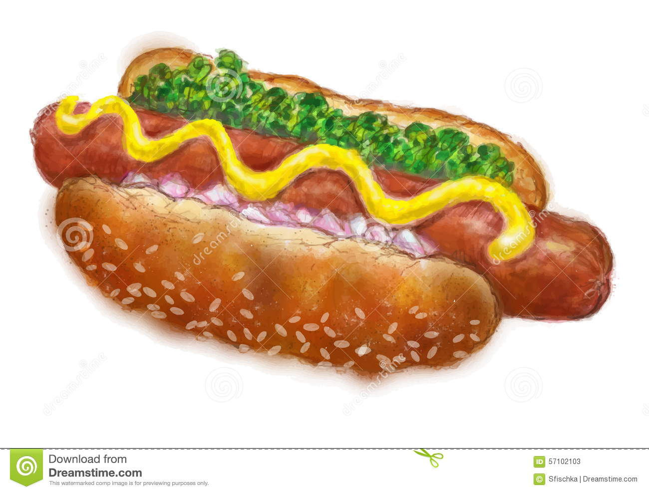 How To Draw A Hot Dog In A Bun