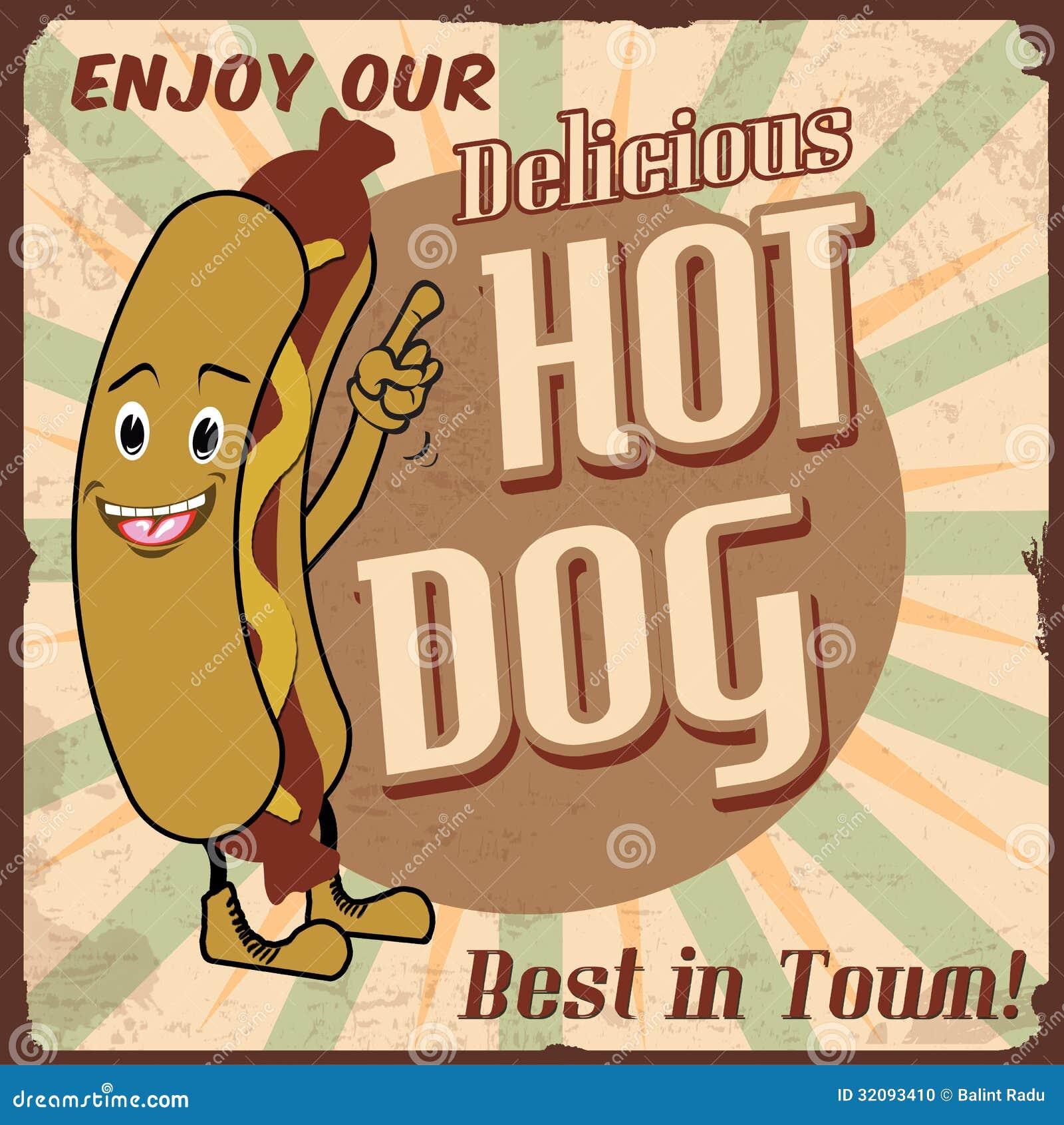 Vintage hot dog background, vector illustration.