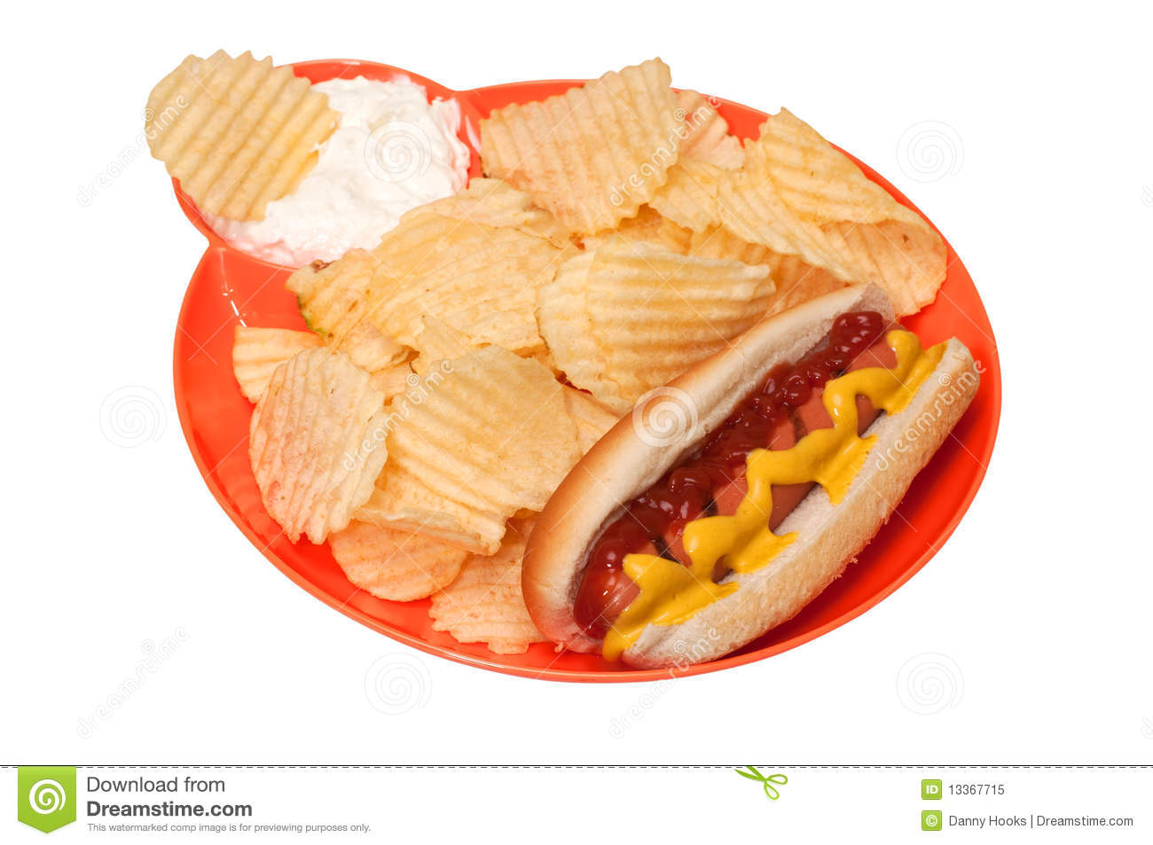 Hotdog And Chips Clipart Hot Dog with Potato Chips and