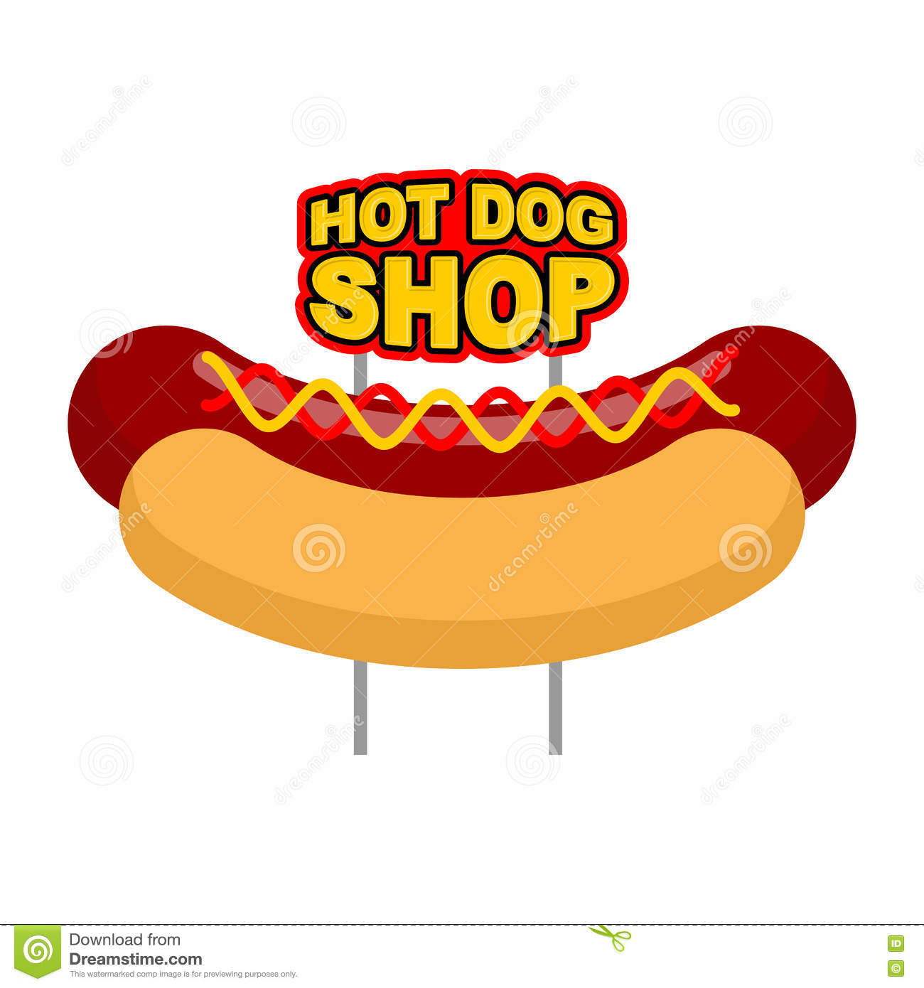 hot dog shop signboard big juicy sausage and bun name for fast stock vector image 71715666. Black Bedroom Furniture Sets. Home Design Ideas