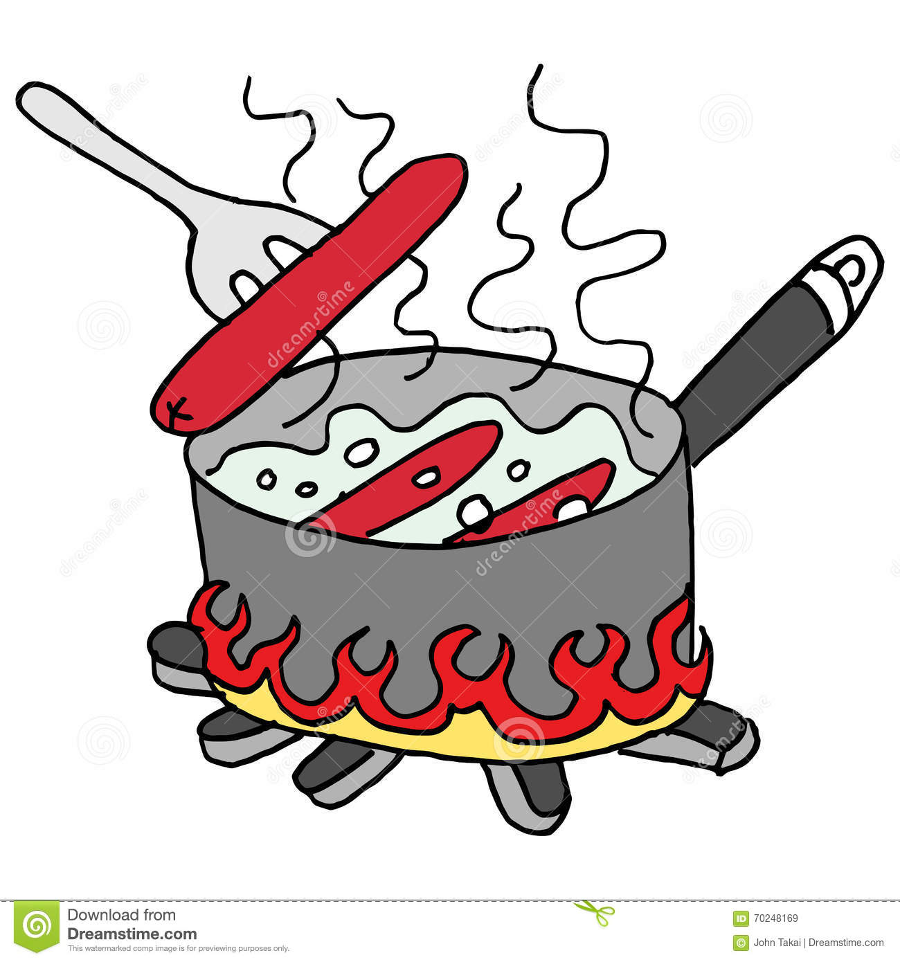 Hot Dogs Boiling In A Pot Of Water Stock Vector - Image: 70248169
