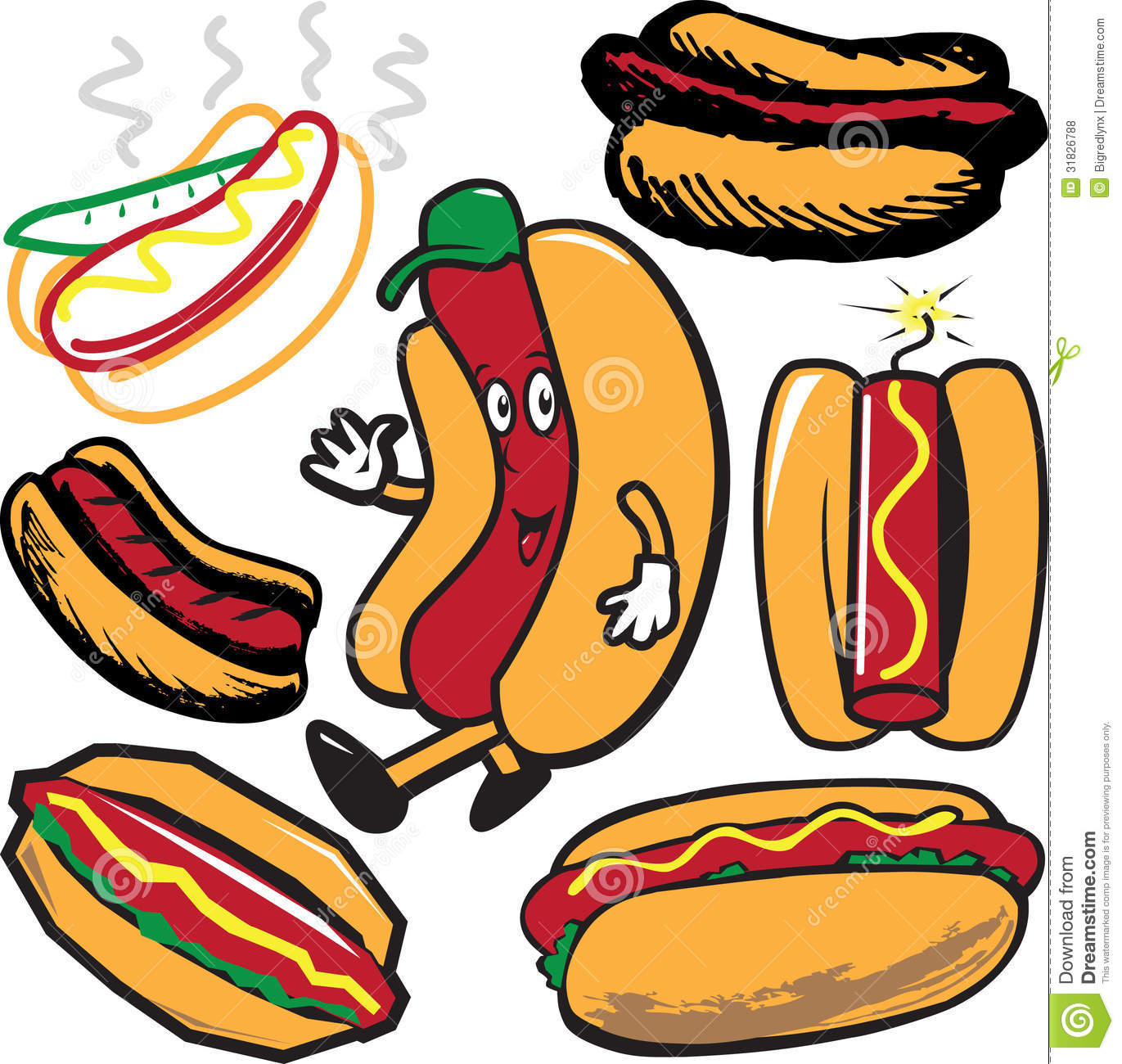 Clip art collection of hot dog symbols and icons.