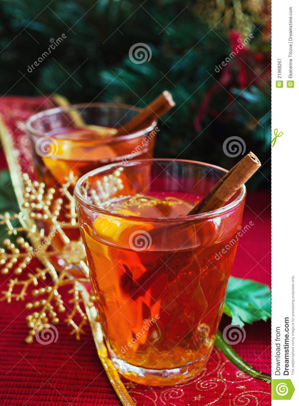 Hot drink with christmas decorations royalty free stock for Christmas cocktail decorations