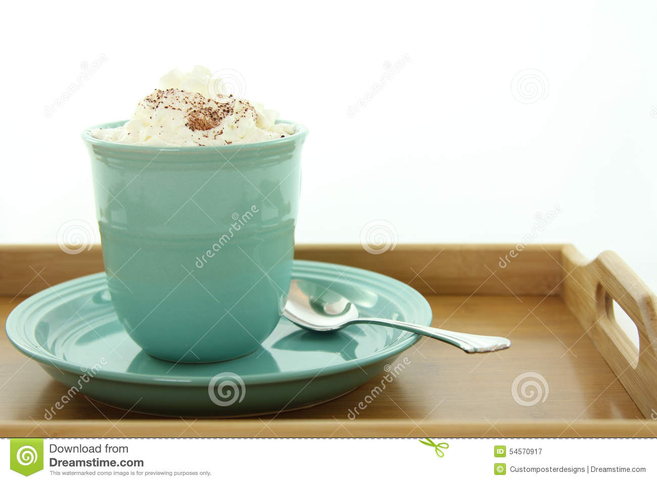 Download A Hot Drink In A Mug With Whipped Cream. Stock Image - Image of drinking, spoon: 54570917