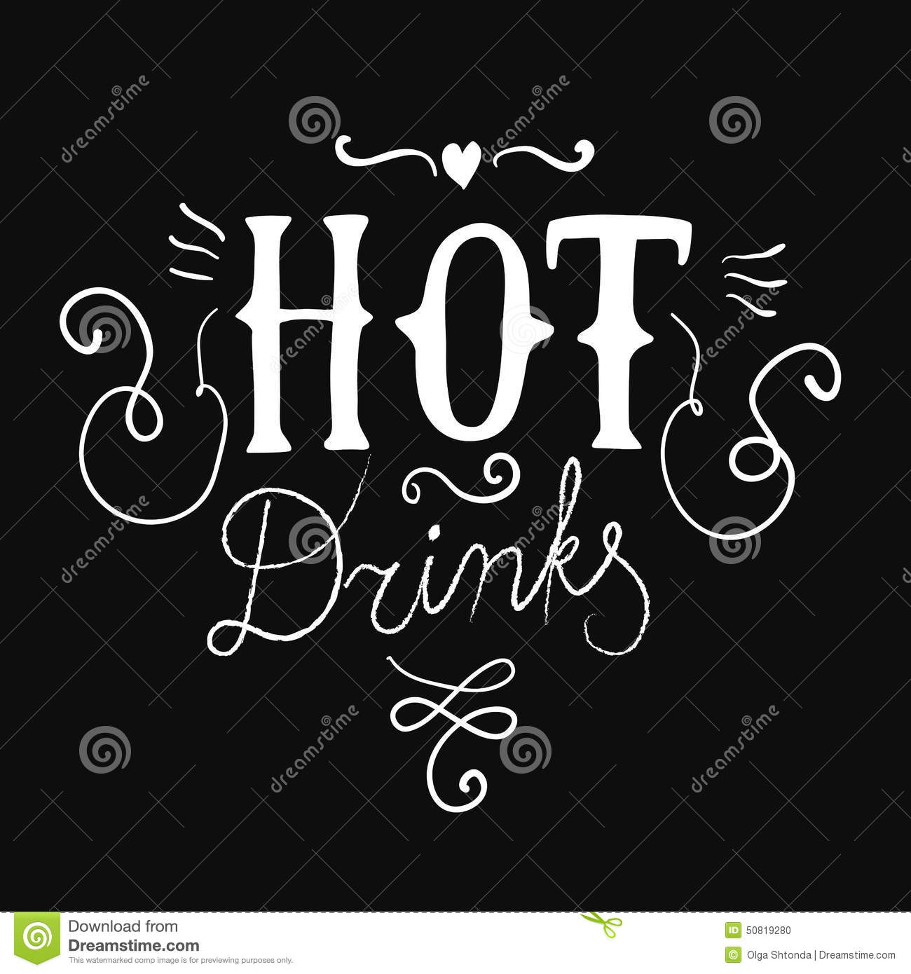 Hot Drinks Calligraphy On Black Background Stock Vector