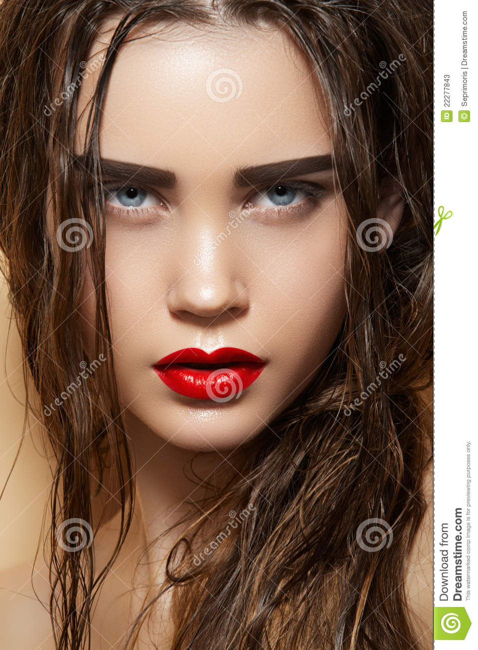 Hot Girl With Sexy Wet Hairstyle Amp Fashion Make Up Stock