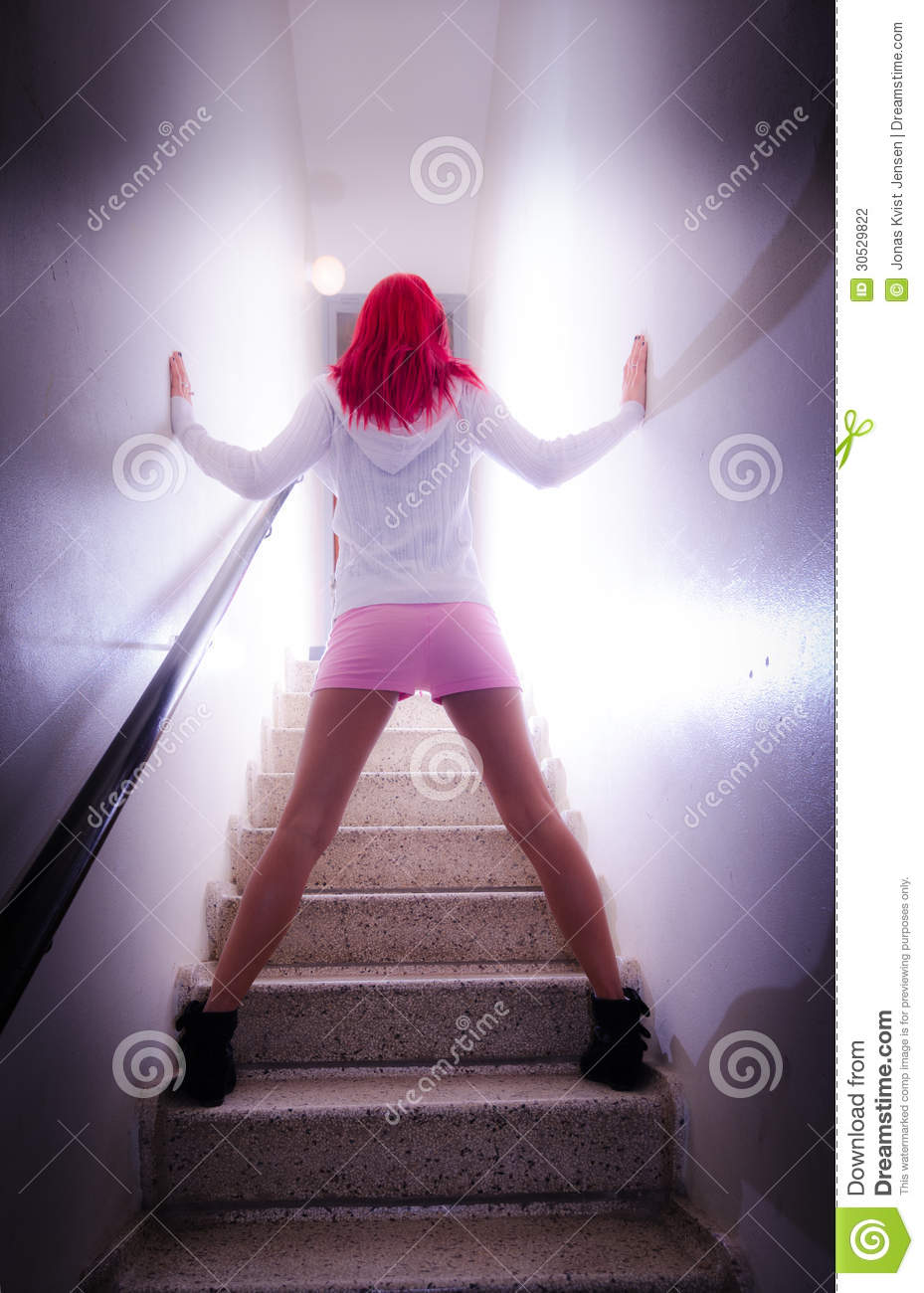 Hot Girl On Stairs With Back Turned Stock Photography ...  Hot Girl On Sta...