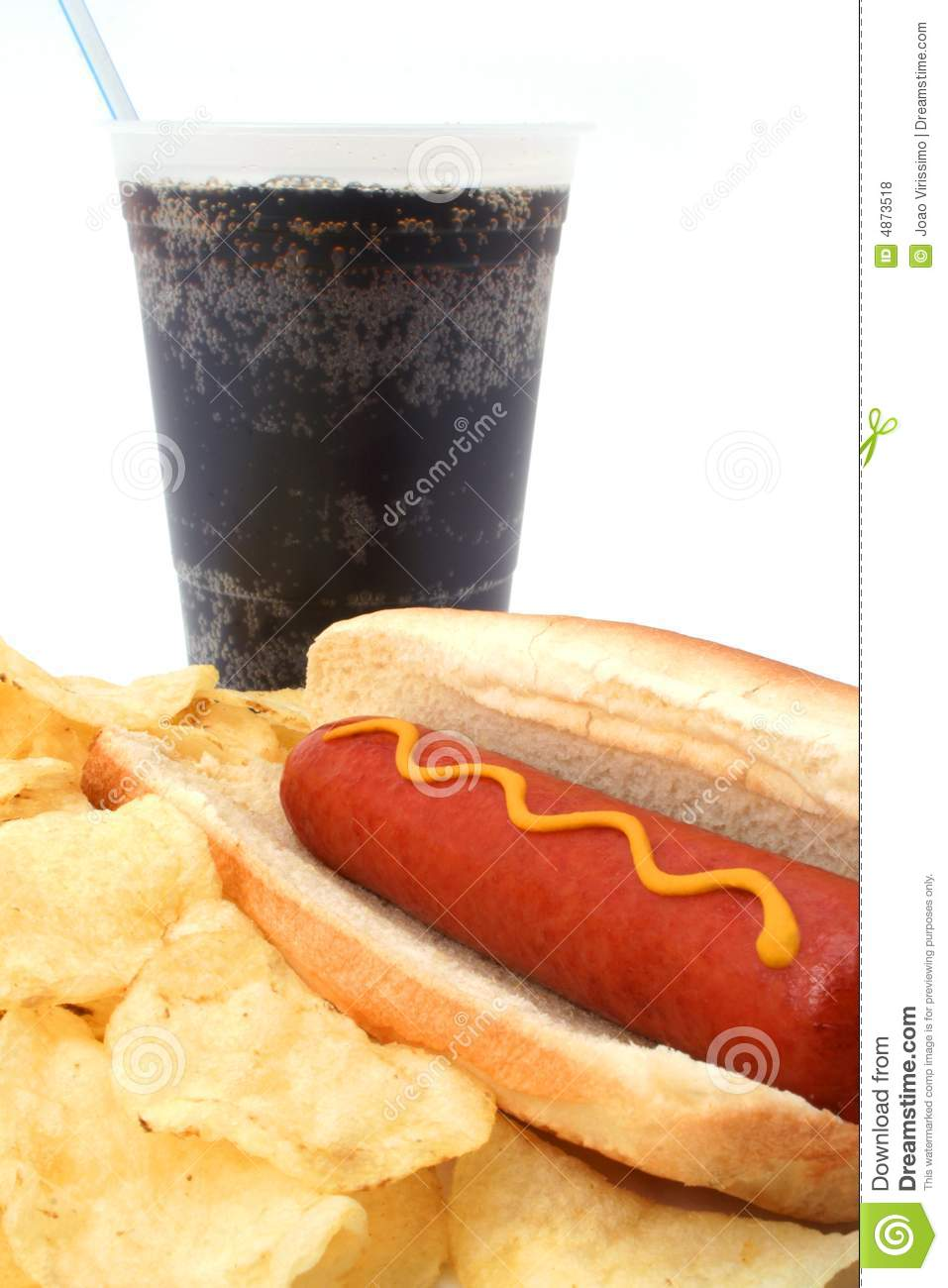 Hot Hog Fast Food Meal With Potato Chips And Soda Stock Photo