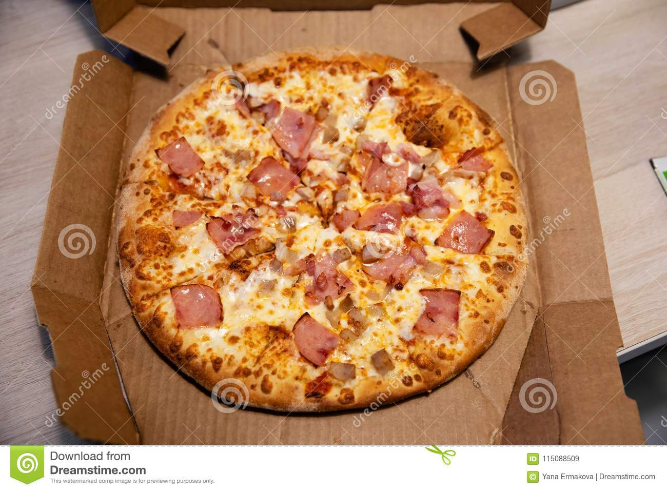 Hot Italian pizza in delivery box