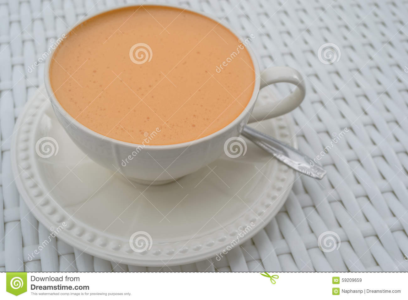 Download Hot Milk Tea In A White Cup Stock Image - Image of background, morning: 59209659