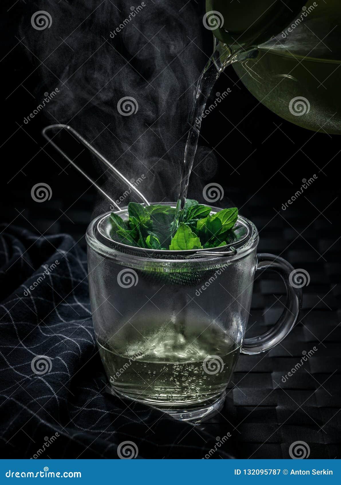 Hot mint tea in winter