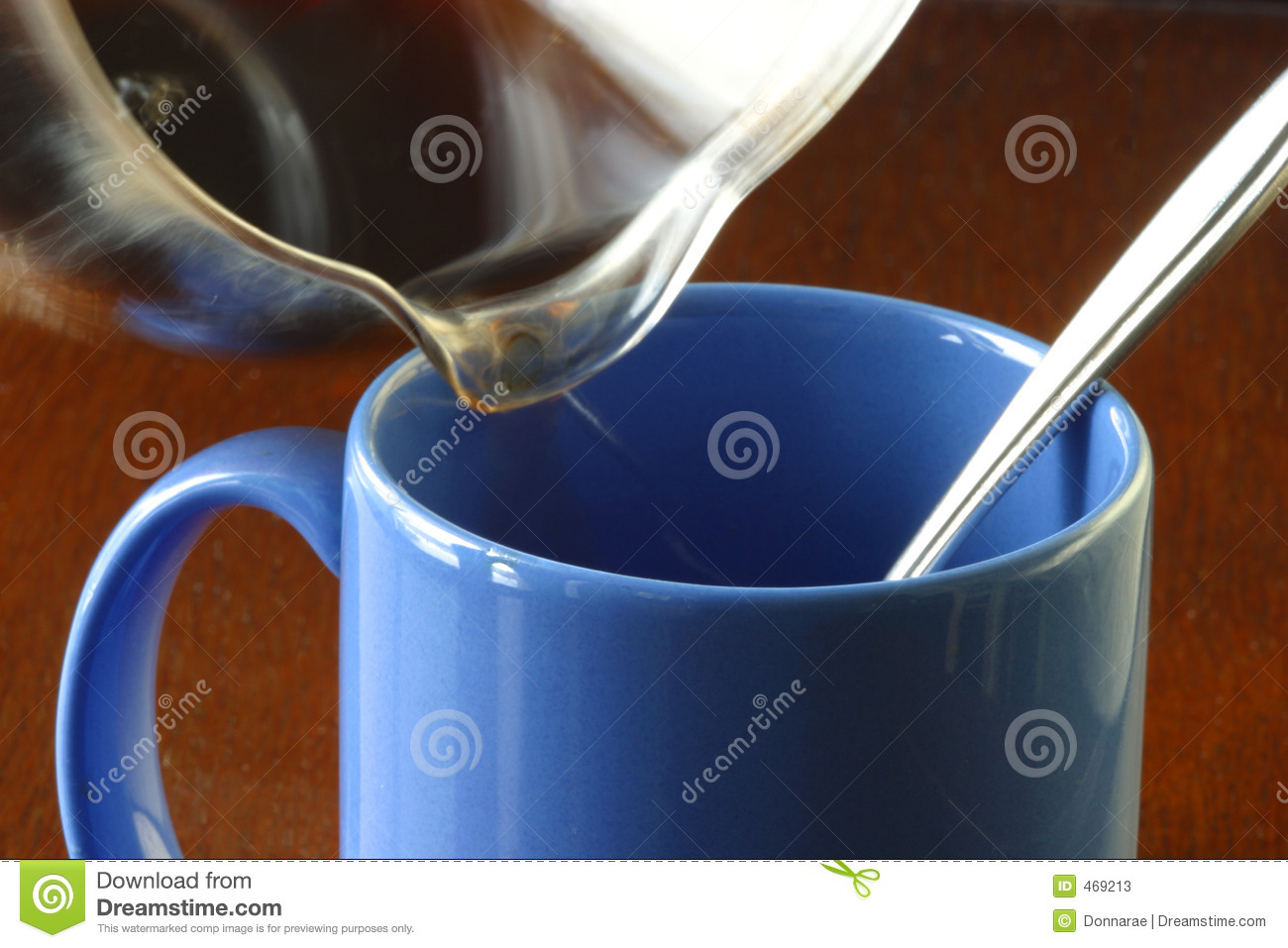 Hot morning coffee being poured in a coffee mug.