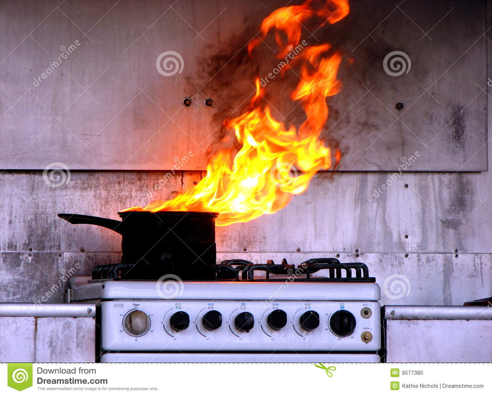 Hot Oil Fire in Kitchen