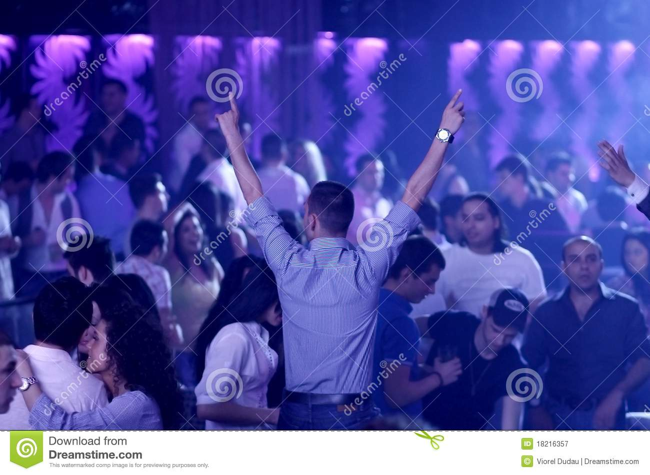 Hot party people in the nightclub (dancehall)