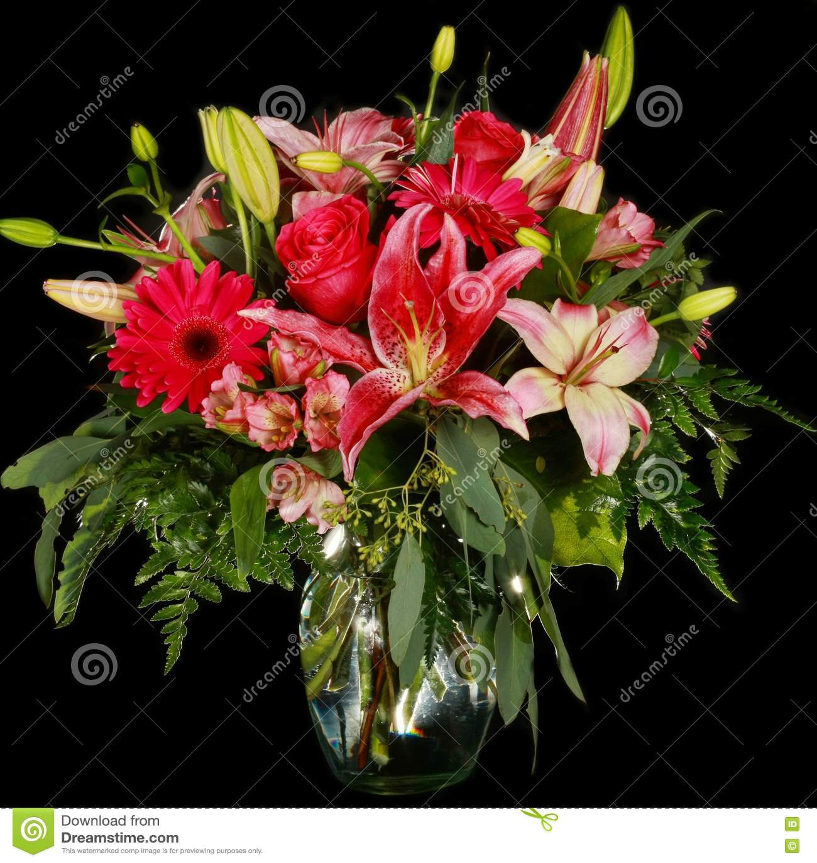 Hot Pink Flower Arrangement Stock Image Image Of Glass Hydrangea