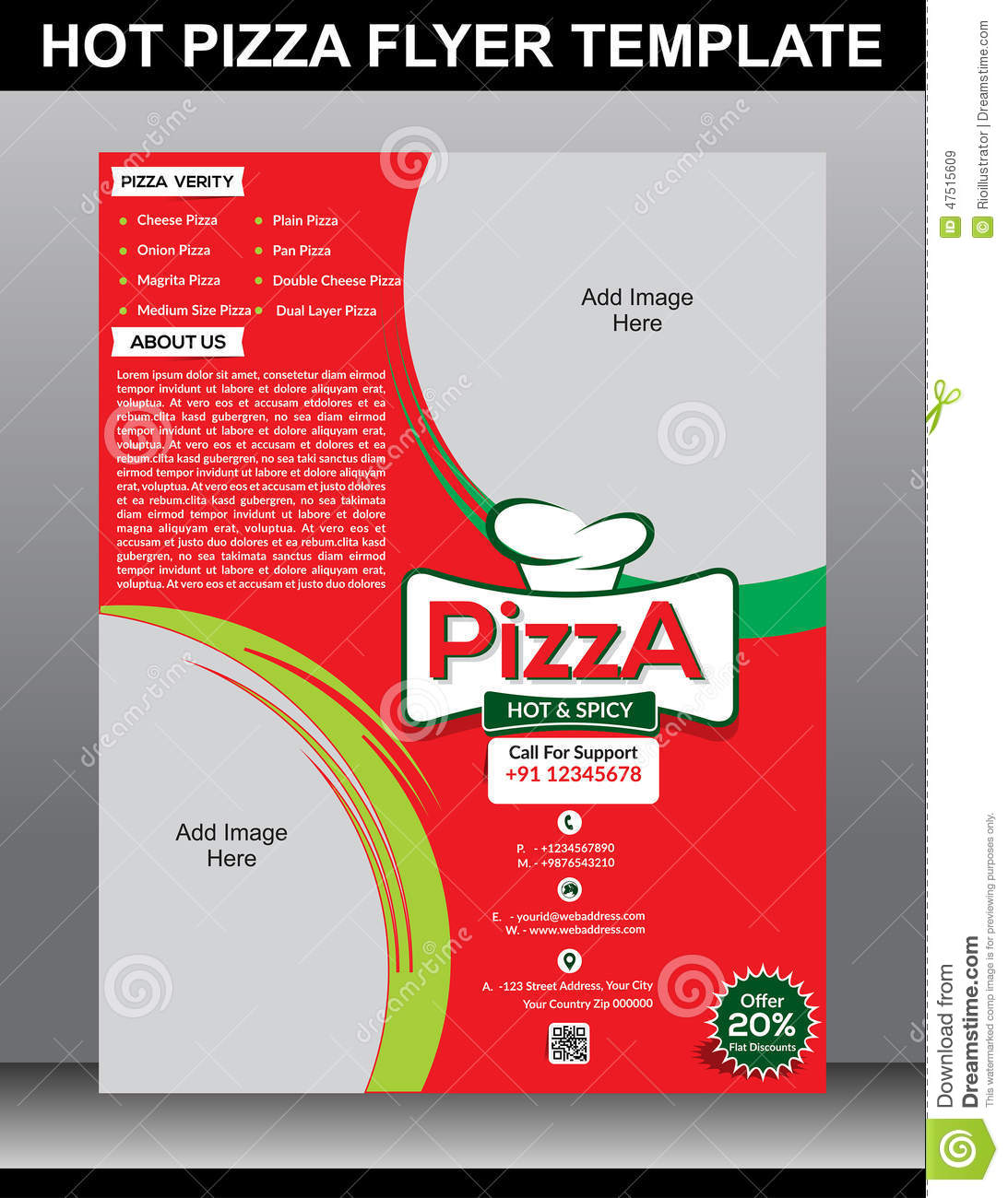 hot pizza flyer template stock vector image 47515609 hot pizza flyer template