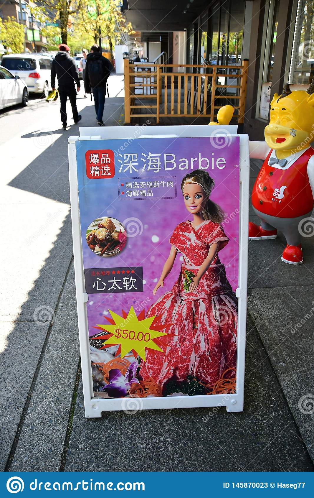 Deep sea Barbie. Barbie. Looks like Barbie doll was wrapped with thin sliced beef meat