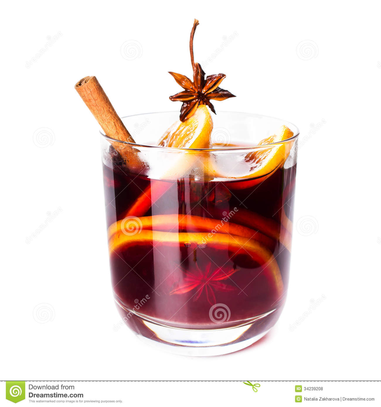 Hot red mulled wine for winter and Christmas with orange slice, anise ...