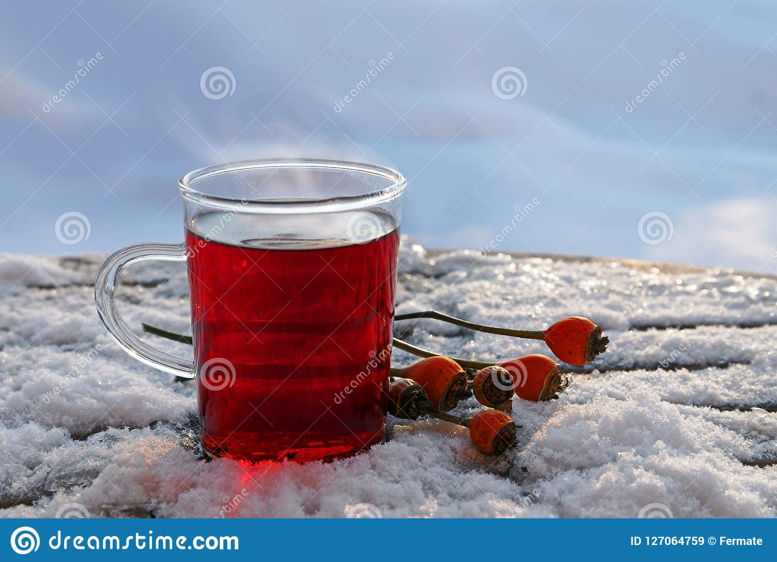 Hot Red Tea From Hibiscus And Rose Hip Fruits Outdoors In The Wi