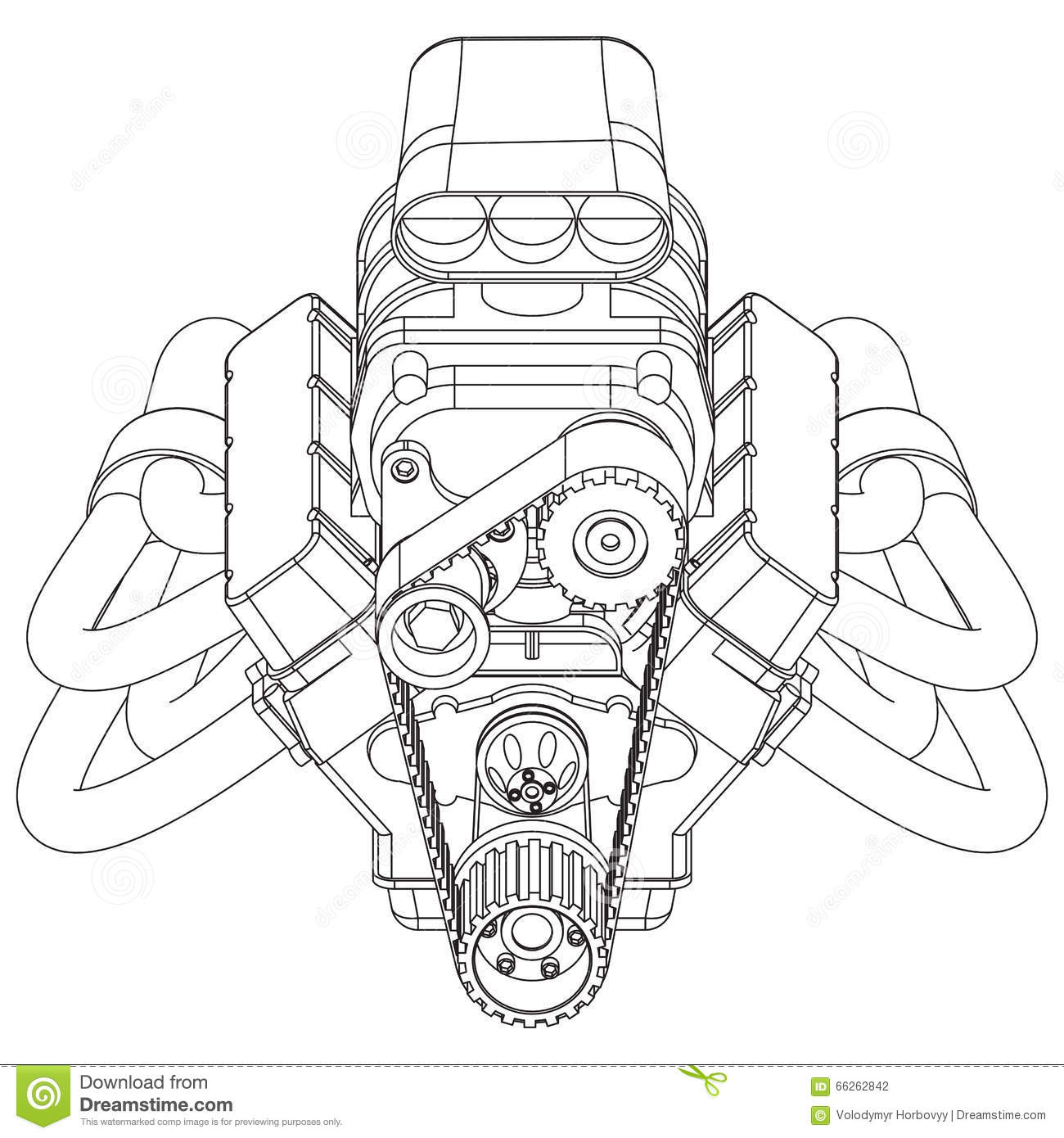 hot rod engine stock vector