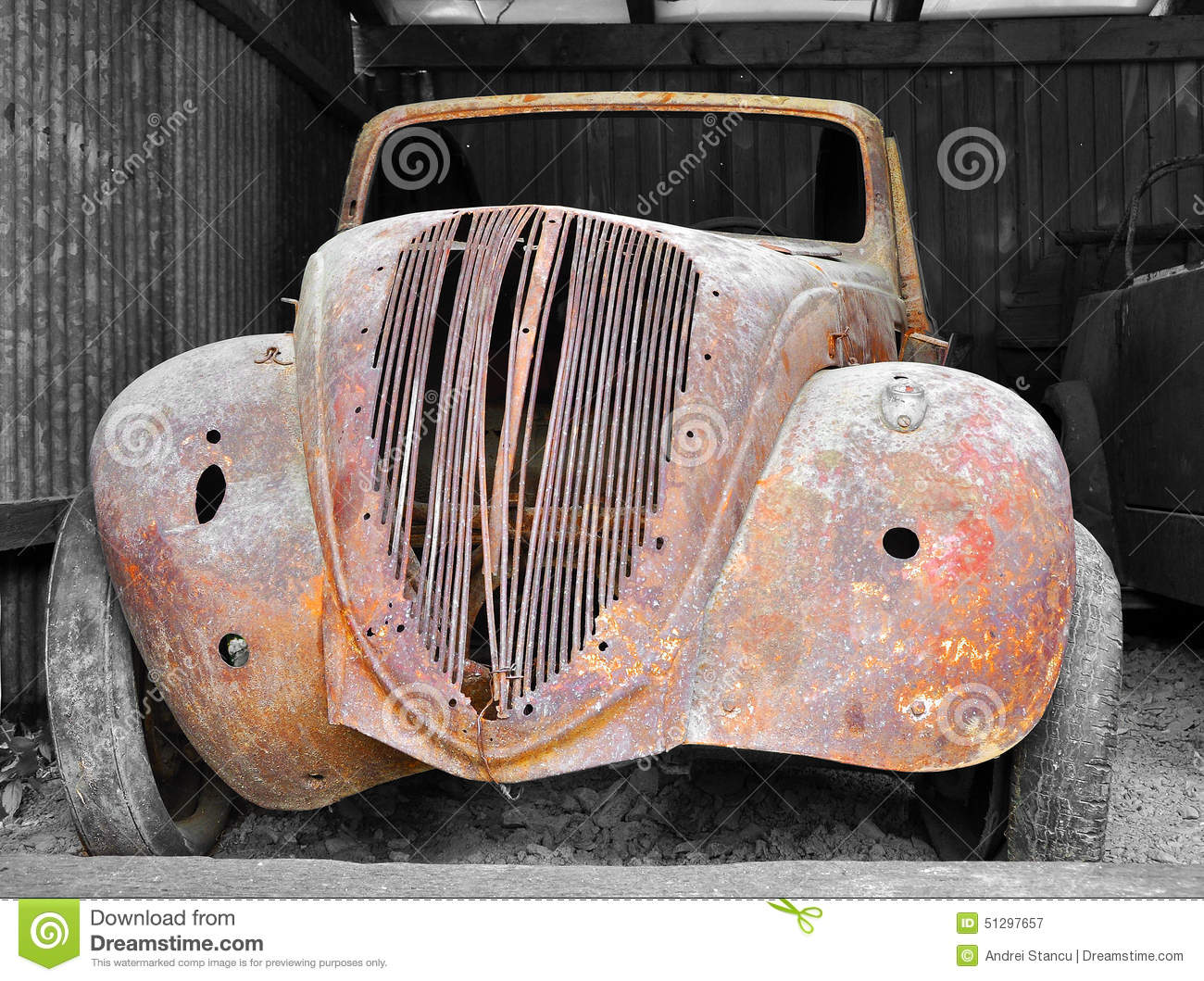 Old Rusty Car stock image. Image of fashioned, park, parked - 51297657