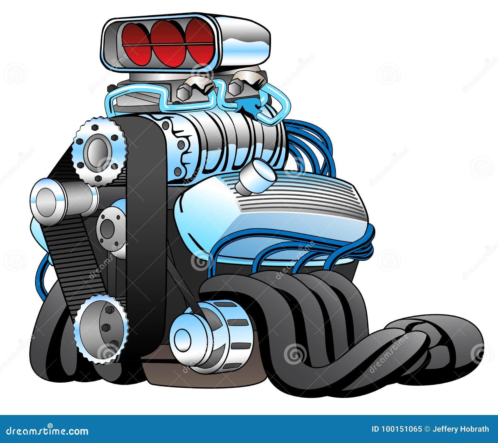Hot Rod Race Car Engine Cartoon Vector Illustration Stock Vector