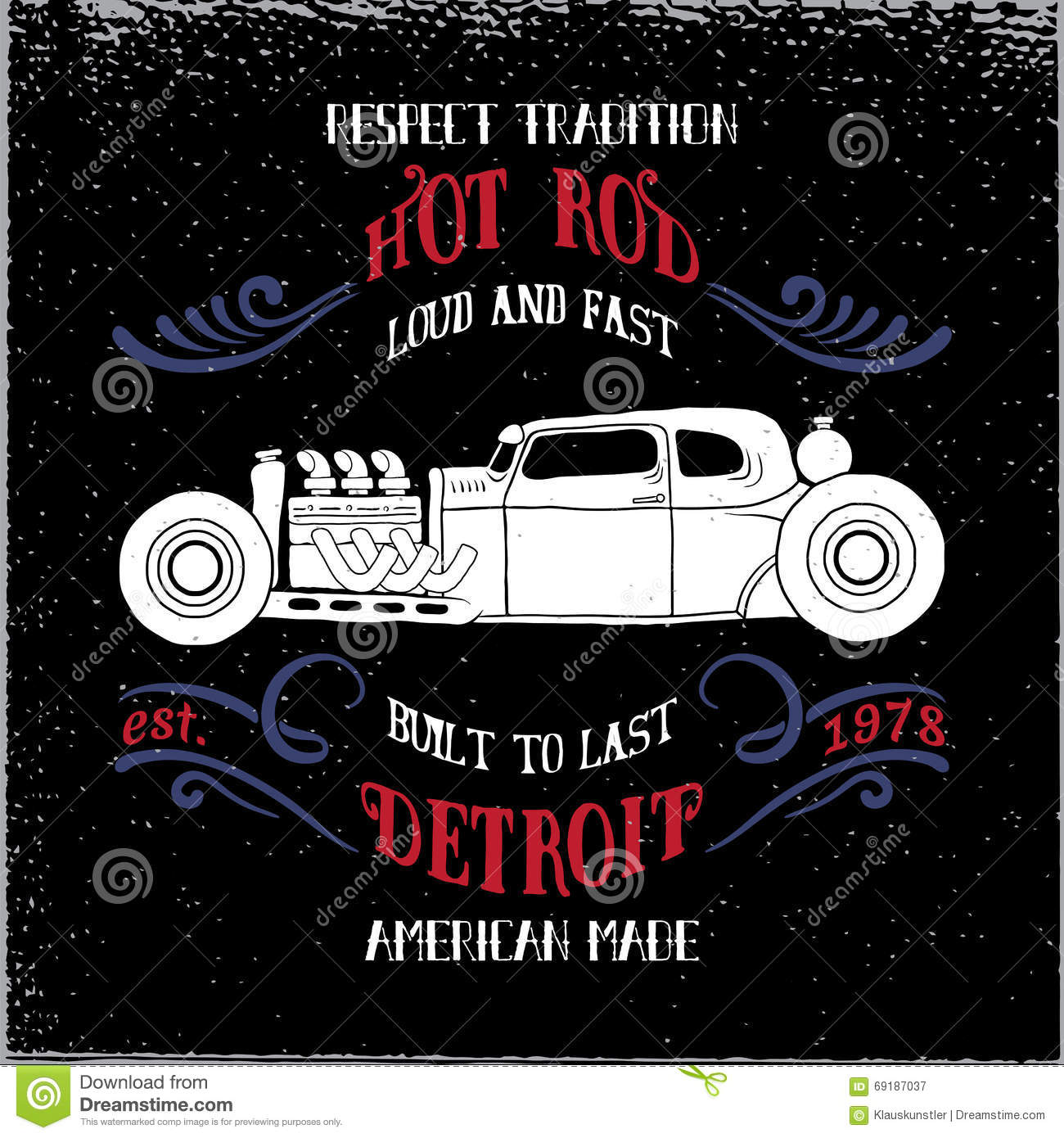 46631a81 Hot rod vehicle design and decoration elements.Typography t-shirt design  for apparel. Designers Also Selected These Stock Illustrations. Vector ...