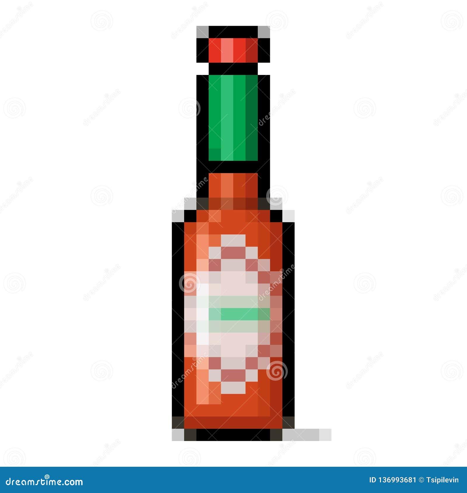 Hot Sauce Bottle Pixel Art Stock Illustration Illustration Of Object 136993681