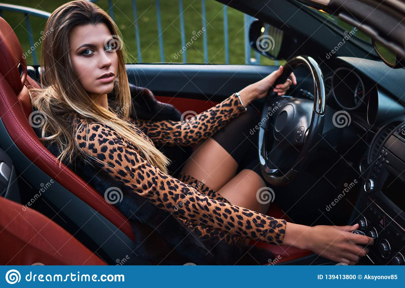 Sports Car Blonde stock photo. Image of alluring, glamour