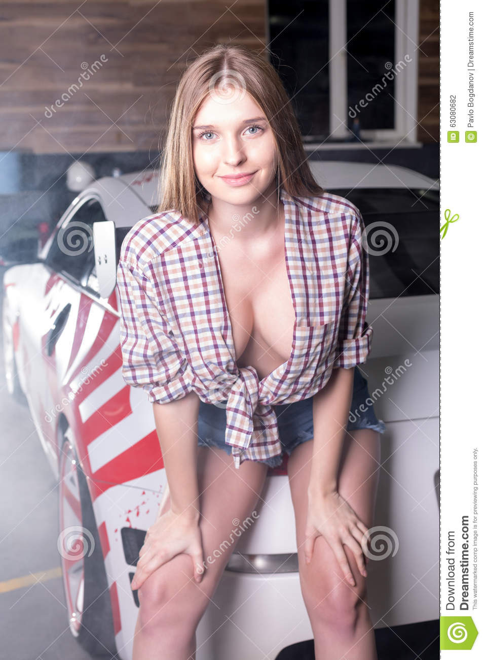 Hot Girl With Sport Car Stock Photo Image Of Attractive