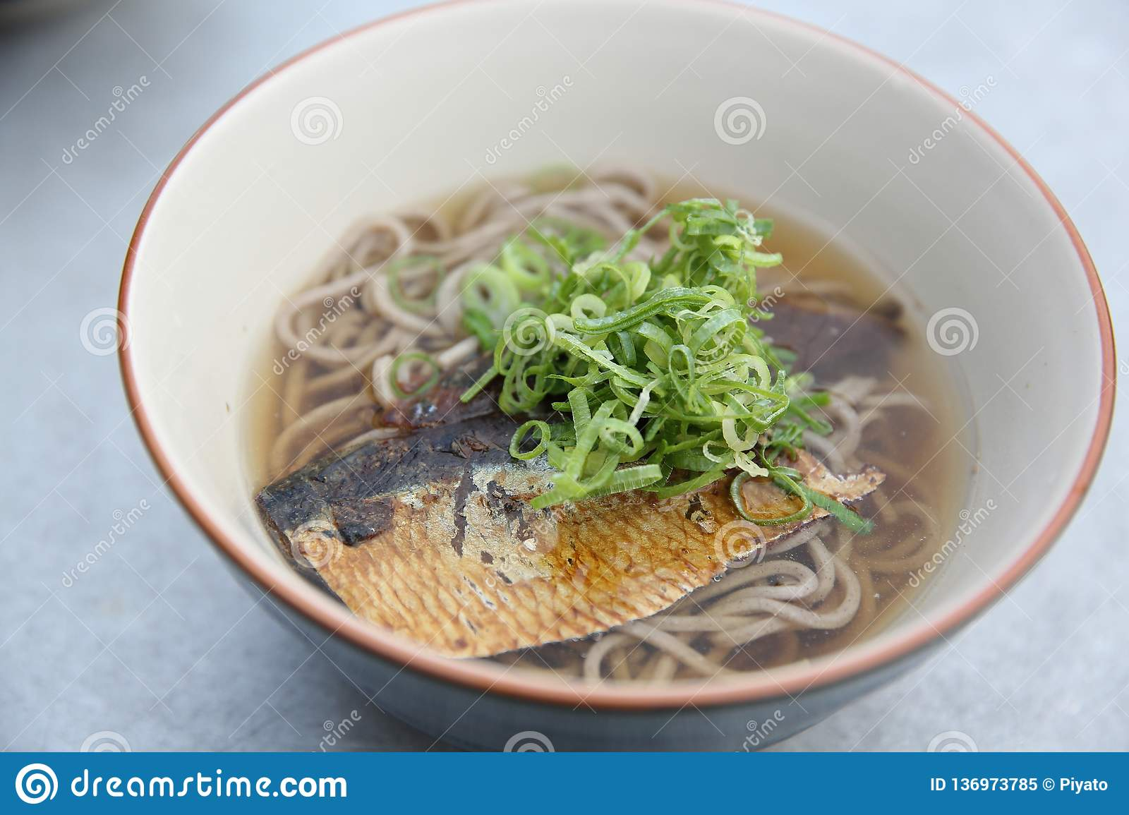 Hot Soba Noodle With Mackerel Fish Japanese Noodle Food