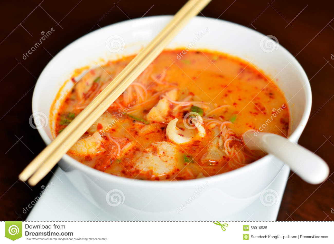 Hot And Sour Seafood Thai Noodle Soup Stock Photo Image: 58016535 ...