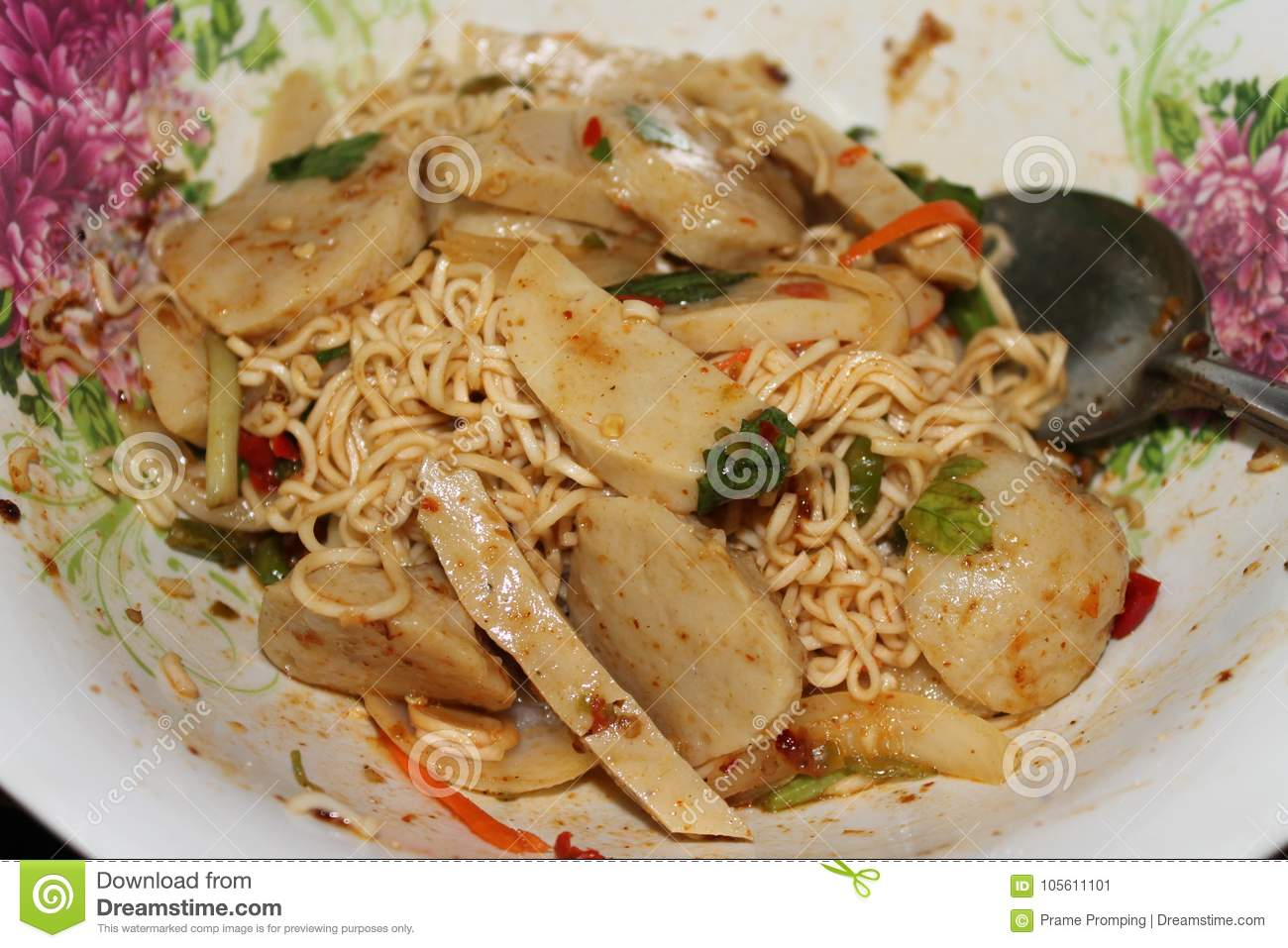 Hot and spicy stock image  Image of pork, noodles, meatball