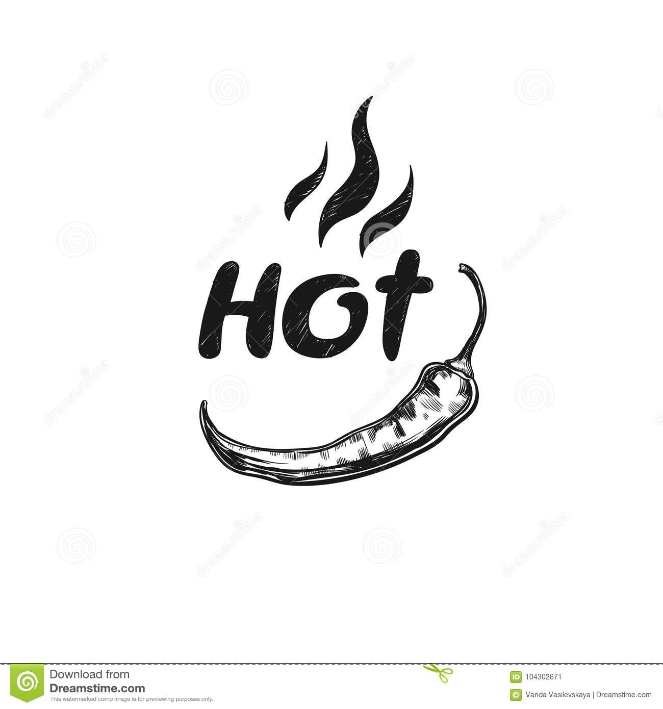 Hot. Spicy icon with chilli