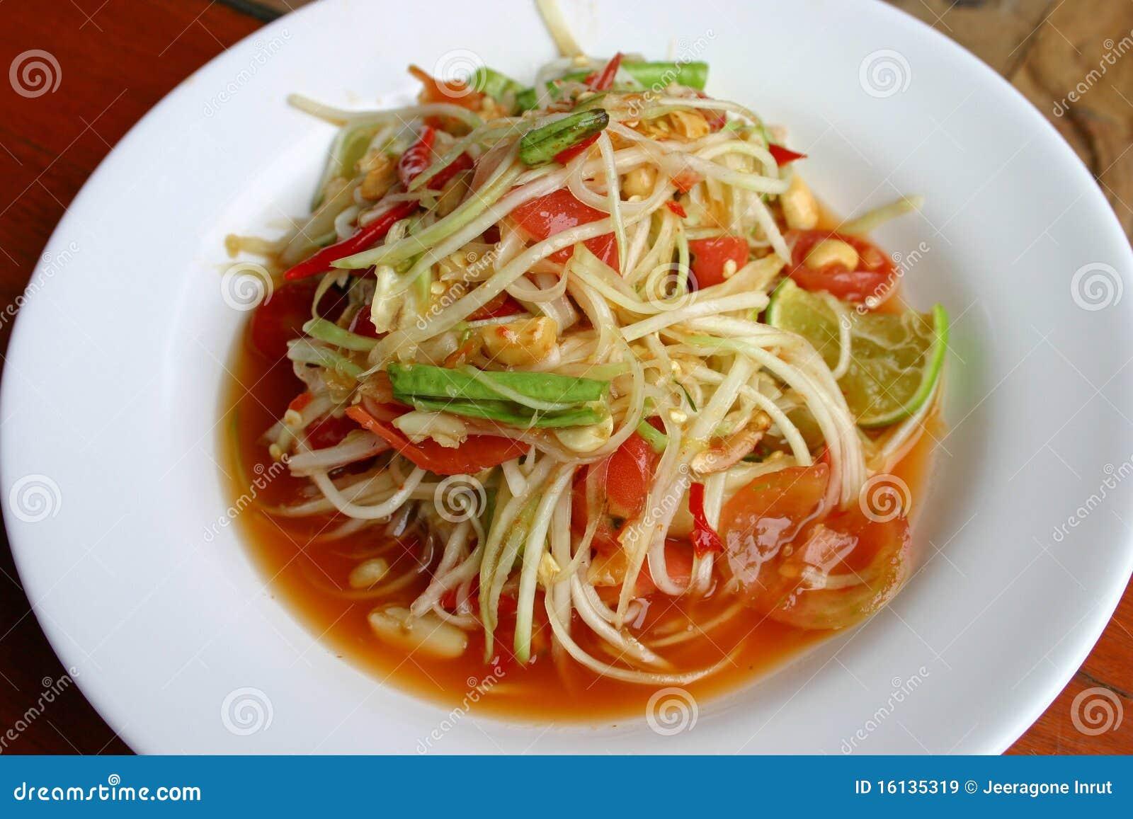 hot and spicy papaya salad stock image image of sauce
