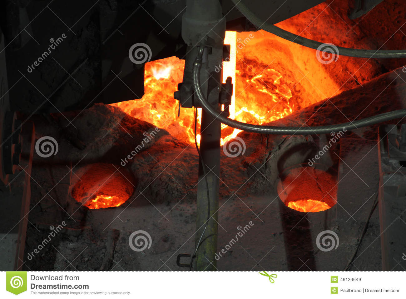 Hot steel in continuous casting plant.