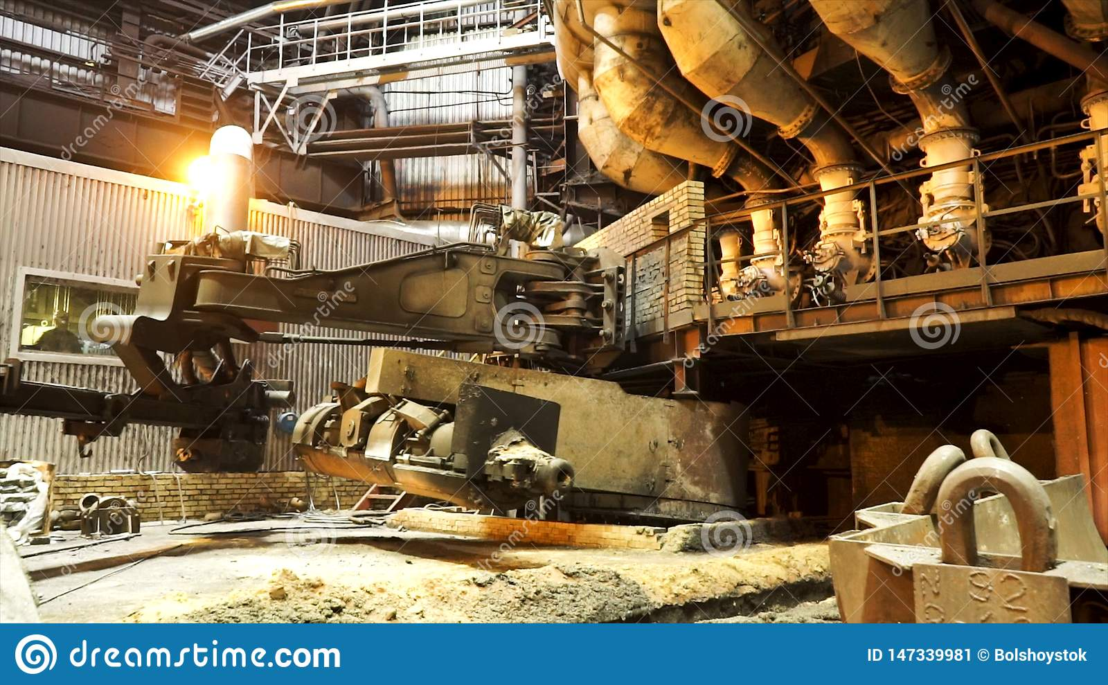Hot steel production process at the steel plant, heavy industry concept. Stock footage. Factory for the manufacture of