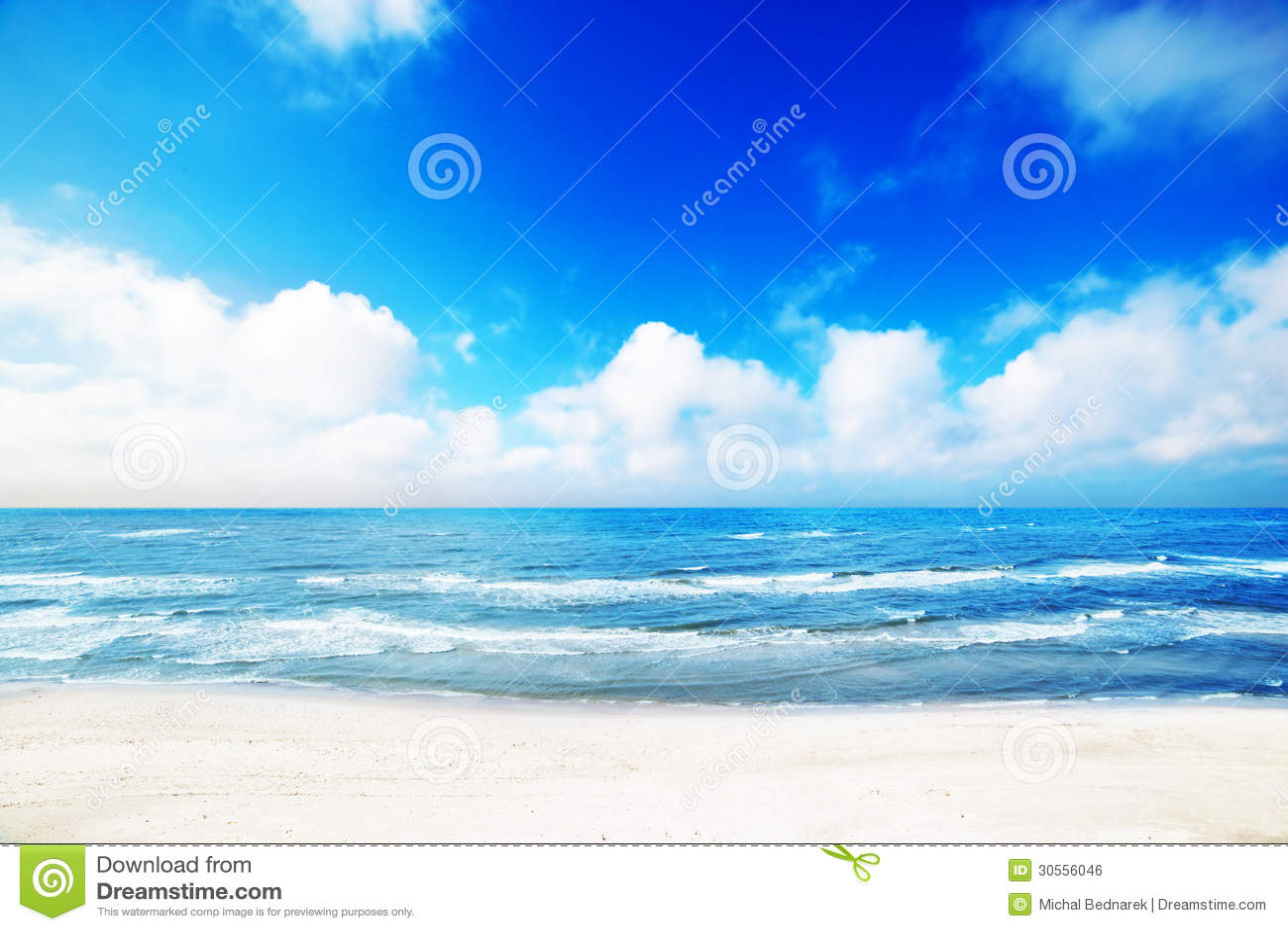 Hot summer beach, sea scenery
