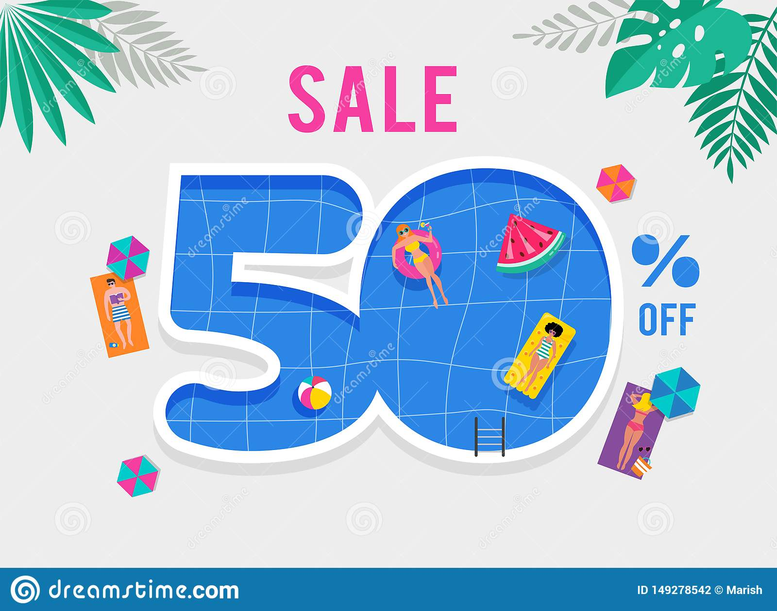 Hot Summer Sale. Vector Template With Top View On The ...