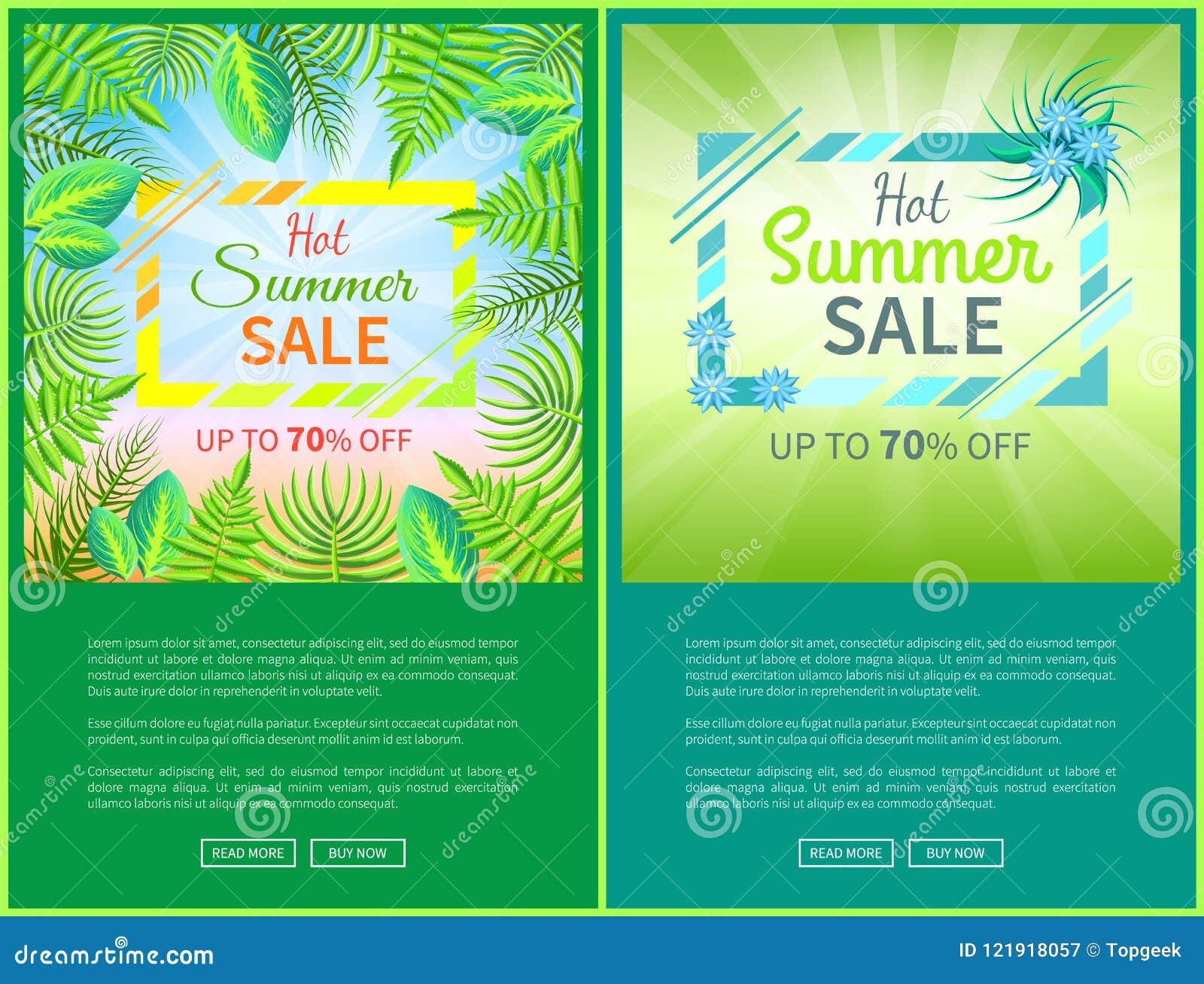 Hot Summer Sale Web Posters Set Up 70 Off Banner