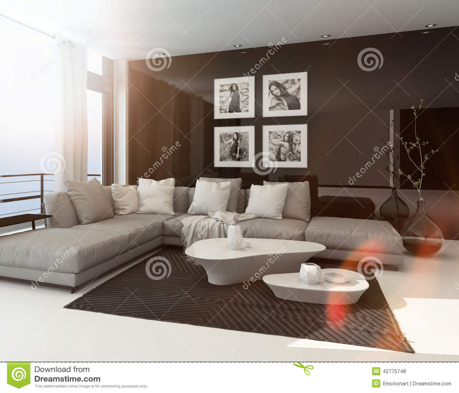 Hot sunny modern sitting room interior stock illustration image 42775748 - Interior sitting rooms ...