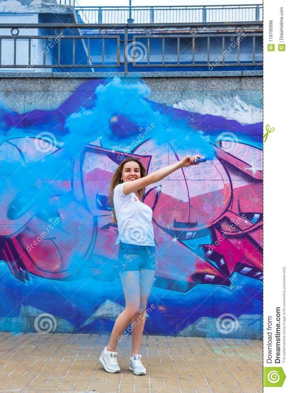 Hot Swag Girl With With Blue Smoke Bomb Stock Photo Image