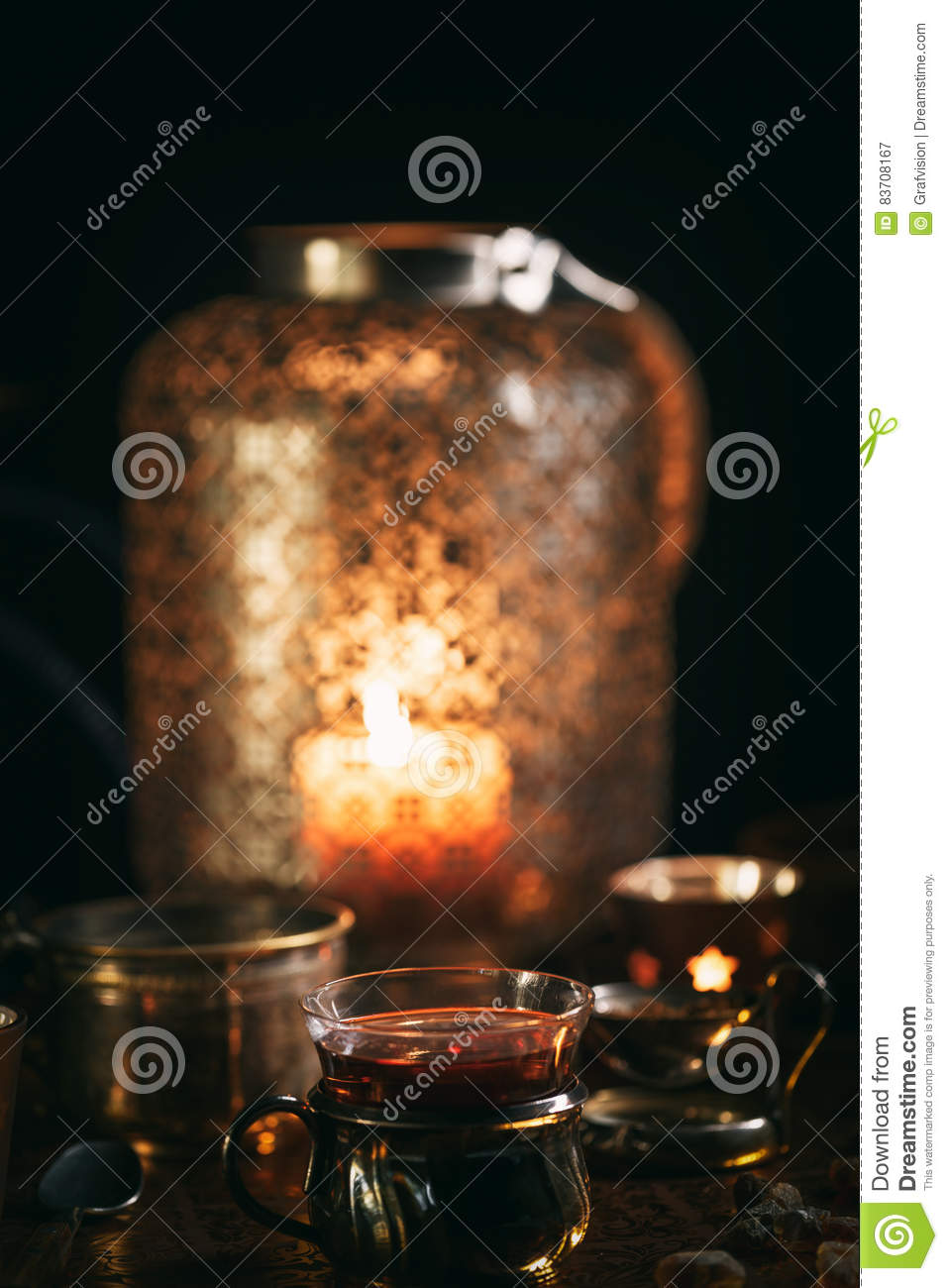 Hot Tea With Candle Stock Photo