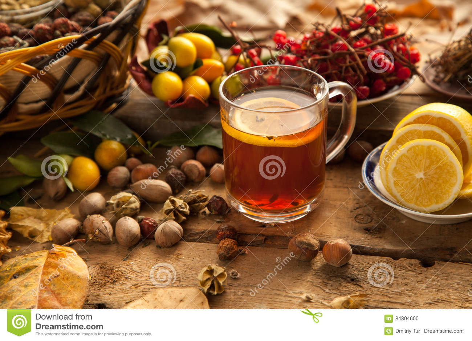Hot tea with lemon and honey.