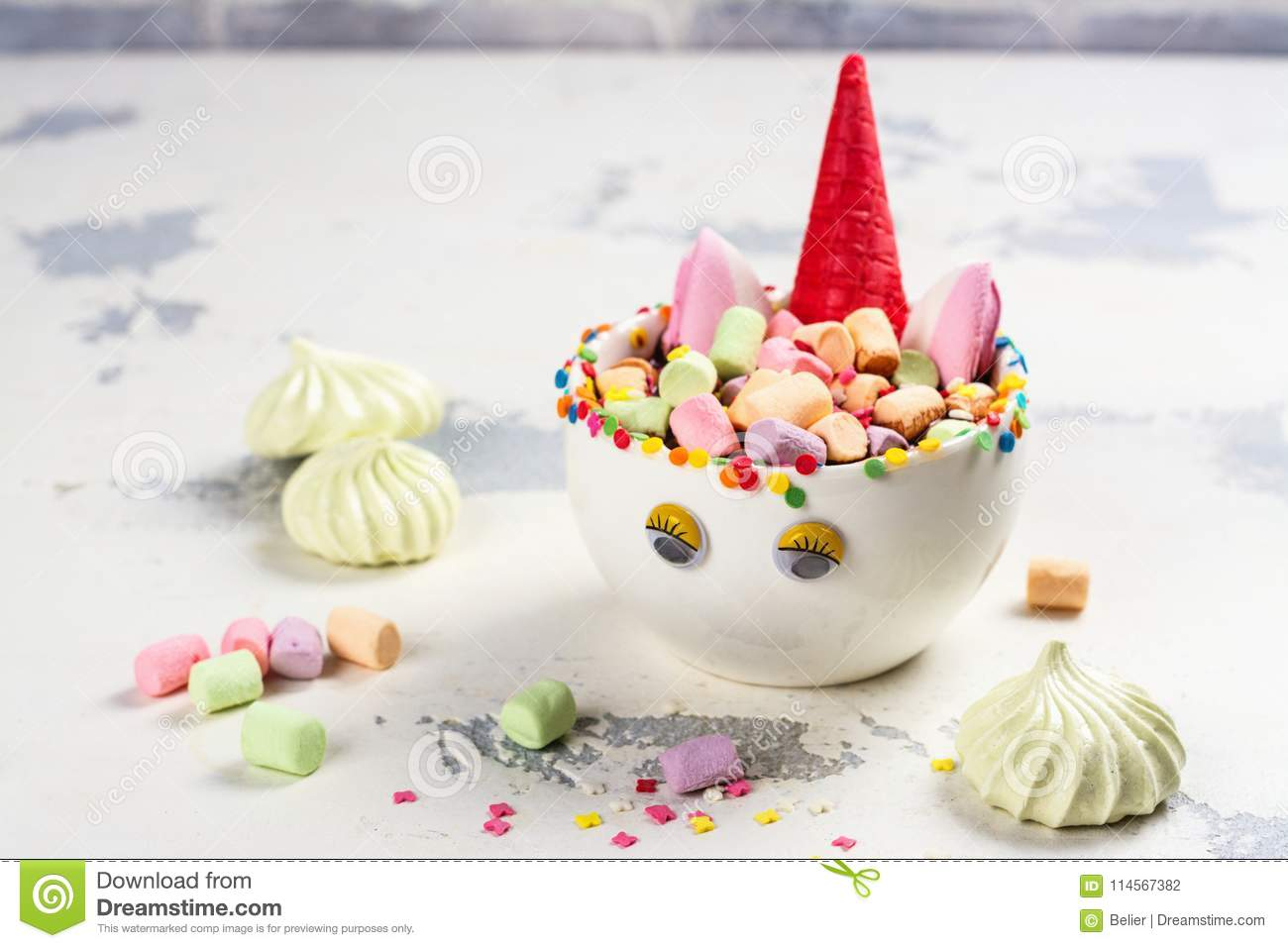 Unicorn Cocoa With Colorful Sprinkles Marshmallow And Cookies Stock