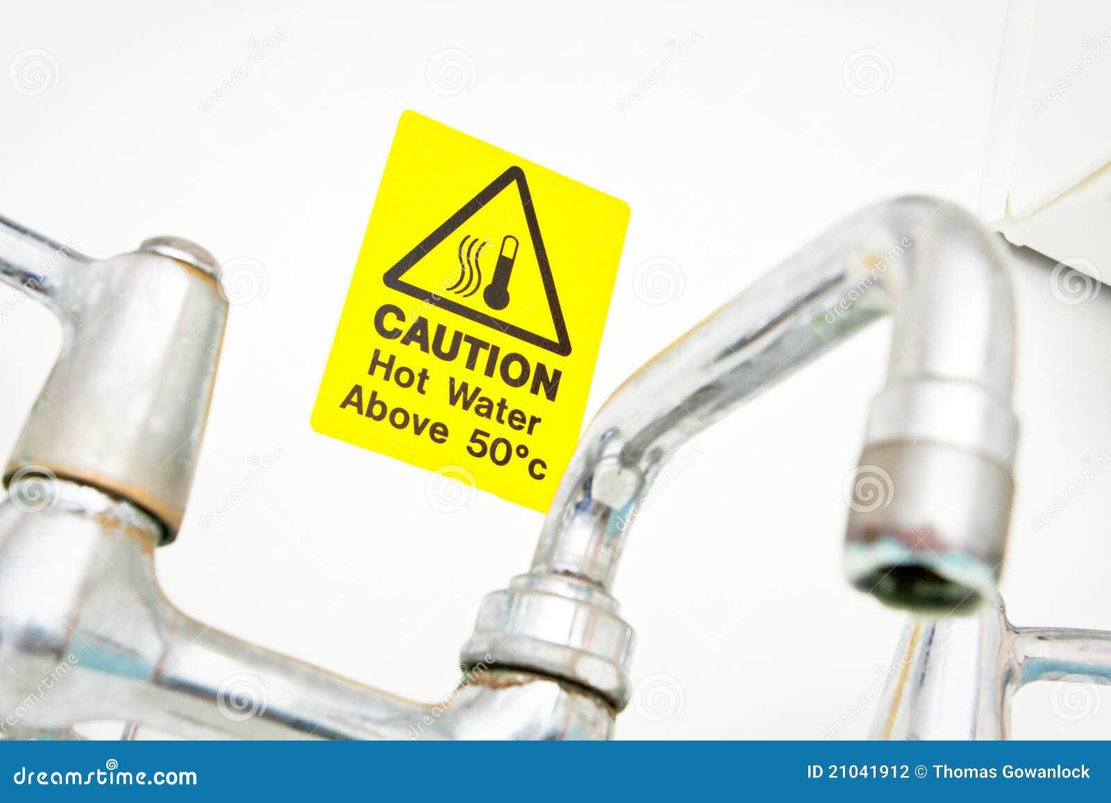 Warning Instant Hot Water : Hot water warning stock photography image