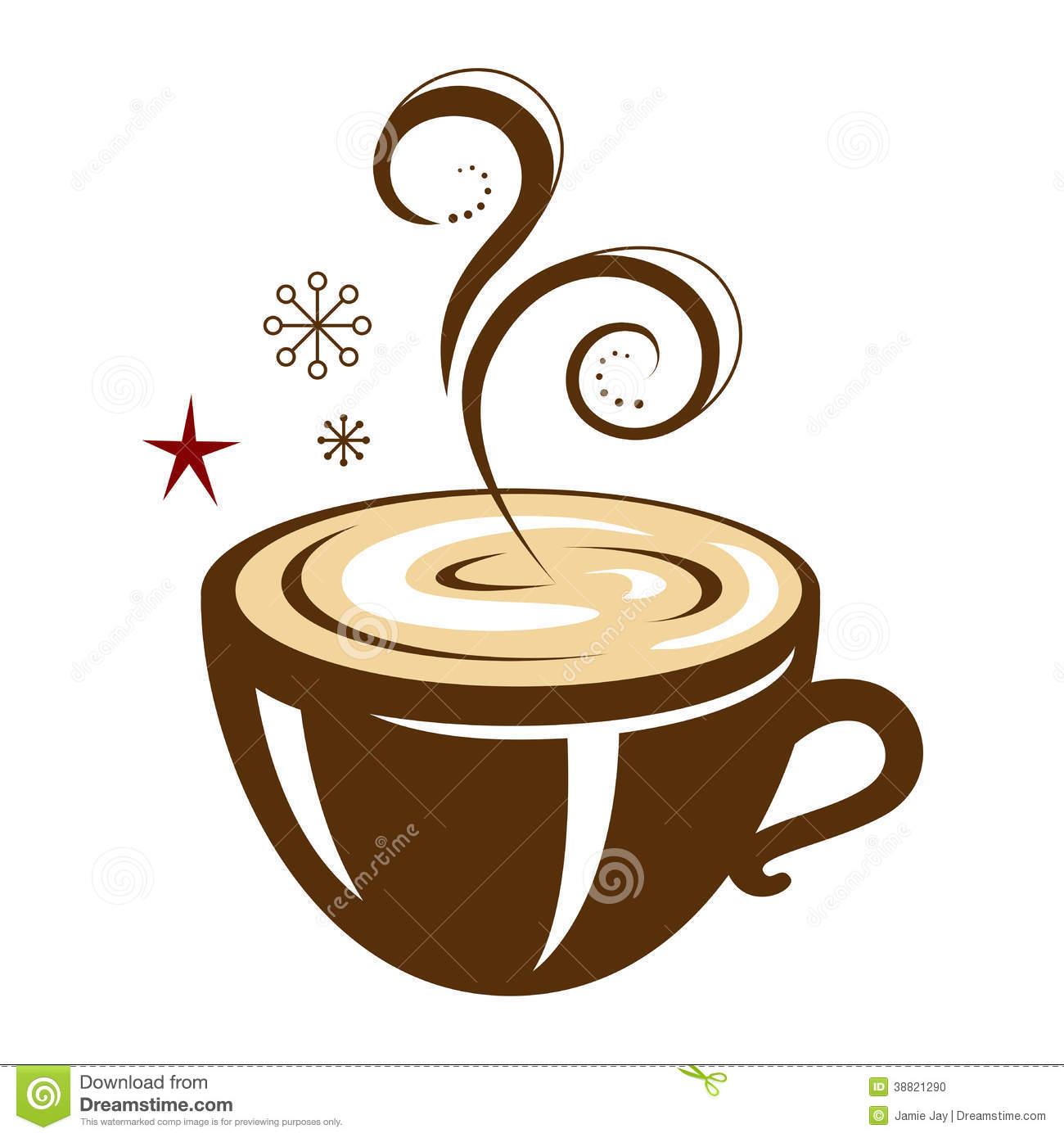 Hot winter beverage, coffee, hot chocolate, steaming, star snowflake ...