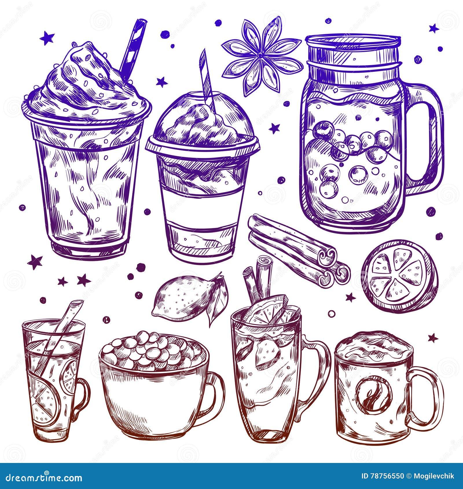 Hot Winter Drinks Icon Set